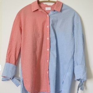 Abound red and blue striped button up